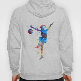 Woman soccer player 12 in watercolor Hoody