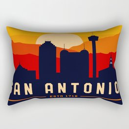 San Antonio Texas Retro Skyline Cityscape Mountain Souvenir Rectangular Pillow