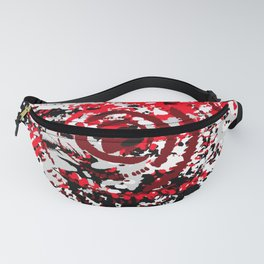 red black white silver grey abstract digital art Fanny Pack