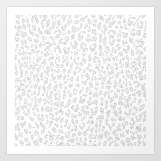 Pale Gray Leopard Art Print