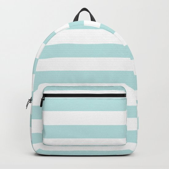 Simply Striped in Succulent Blue Stripes on White Backpack