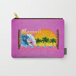 Pink Hawaiian Surfing Carry-All Pouch