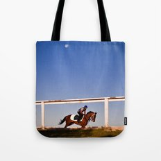 A rider and a horse Tote Bag