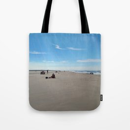 low tide sand beach sunny summer day at ouddorp zeeland netherlands europe Tote Bag