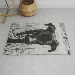 Doggy in the Field // B&W Hiking by Rustic Abandoned Log Cabin Summit Colorado Rug