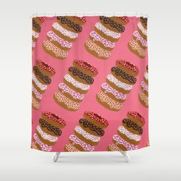 Stacked Donuts on Cherry Shower Curtain
