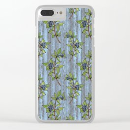 Blueberry Branches Clear iPhone Case