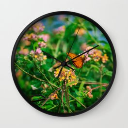 Hawaiian Flowers & Butterfly (1) | Hawaii Tropical Nature Coastal Travel Photography Print Wall Clock