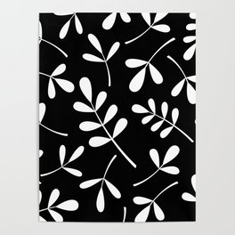 White on Black Assorted Leaf Silhouettes Poster