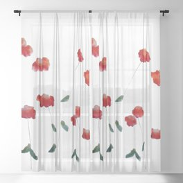 Red flowers in the snow Sheer Curtain