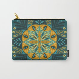Sprouting Mandala – Teal Carry-All Pouch