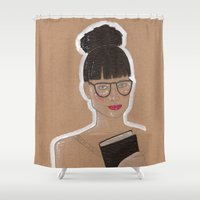 glasses Shower Curtains featuring Glasses by Elisabet Martí