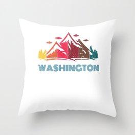 Retro Mountain Washington Design  for Men Women and Kids Throw Pillow