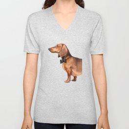 Elegant dachshund. Unisex V-Neck