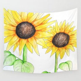 Sunflower Watercolor & ink Wall Tapestry
