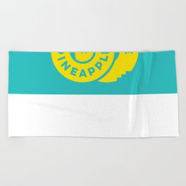 PineappleStaircase   Official Logocolor 2015 in Turquoise/Yellow Beach Towel
