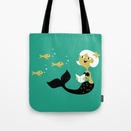 Reading Mermaid Tote Bag