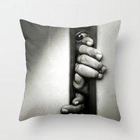 fear Throw Pillows featuring Fear by unaciertamirada