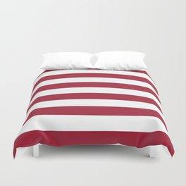 Crimson Red Horizontal Stripes Pattern Duvet Cover