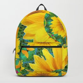 BOHEMIAN YELLOW FLORAL & BUTTERFLIES GREEN PATTERN ART Backpack