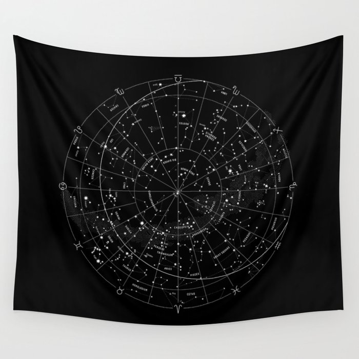 Constellation Map Black Amp White Wall Tapestry By Mmerlin