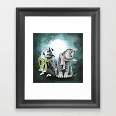 Cat and Owl Framed Art Print