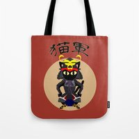 army Tote Bags featuring Cat Army by BATKEI