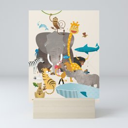 Kids Room Animals – Illustration for the sleeping room of girls and boys Mini Art Print