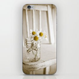 Simple White Daisy Flowers iPhone Skin