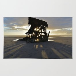 Wreck of the Peter Iredale at sunset Rug