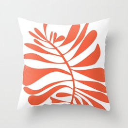 White Red Tropical Leaf Throw Pillow