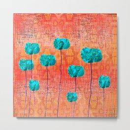 Vintage Poppy Flower Abstract Metal Print