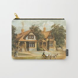 Vintage Victorian Houses illustration, Horse Carriage, Two People with Tennis Rackets Carry-All Pouch