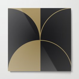 Diamond Series Round Solid Lines Gold on Charcoal Metal Print
