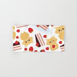 attern cute kawaii hamster with fresh Strawberry, cake decorated pink cream and chocolate Hand & Bath Towel