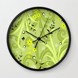 Green and Yellow Spring Floral Wall Clock