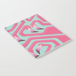 Flamingo Maze on beach glass background. Notebook