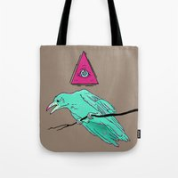 occult Tote Bags featuring occult raven by Ewa Pacia