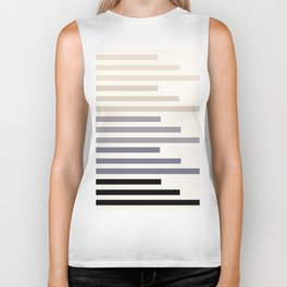 Grey Minimalist Abstract Mid Century Modern Staggered Thin Stripes Watercolor Painting Biker Tank