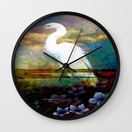 Egret In The Wilderness By Annie Zeno Wall Clock