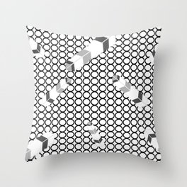 Embossedfeathersblackhollowcircles Throw Pillow