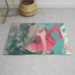 Sugar Rush [3]: a colorful, abstract mixed media piece in pinks, blues, and gold Rug