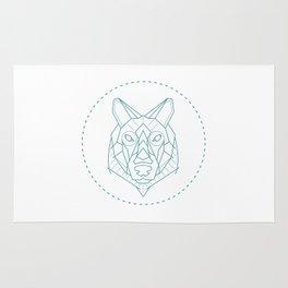 Geometric Blue Wolf Rug