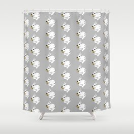 Some'bunny' Loves You...LOTS! (on grey) Shower Curtain