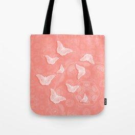 A flutter of butterflies on peach mandala patterns Tote Bag