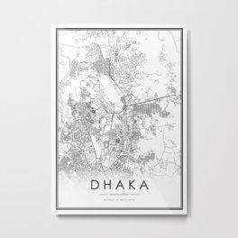 Dhaka City Map Bangladesh White and Black Metal Print
