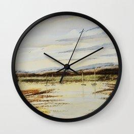 Lake, boats & birds Wall Clock