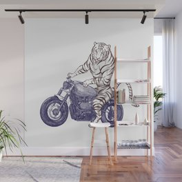 Tiger on a Motorcycle Wall Mural