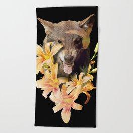 Wolfish flowers Beach Towel