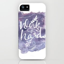 Work Hard Print, Purple Wall Art, Watercolor Typography Poster, Motivational Home Office Decor iPhone Case